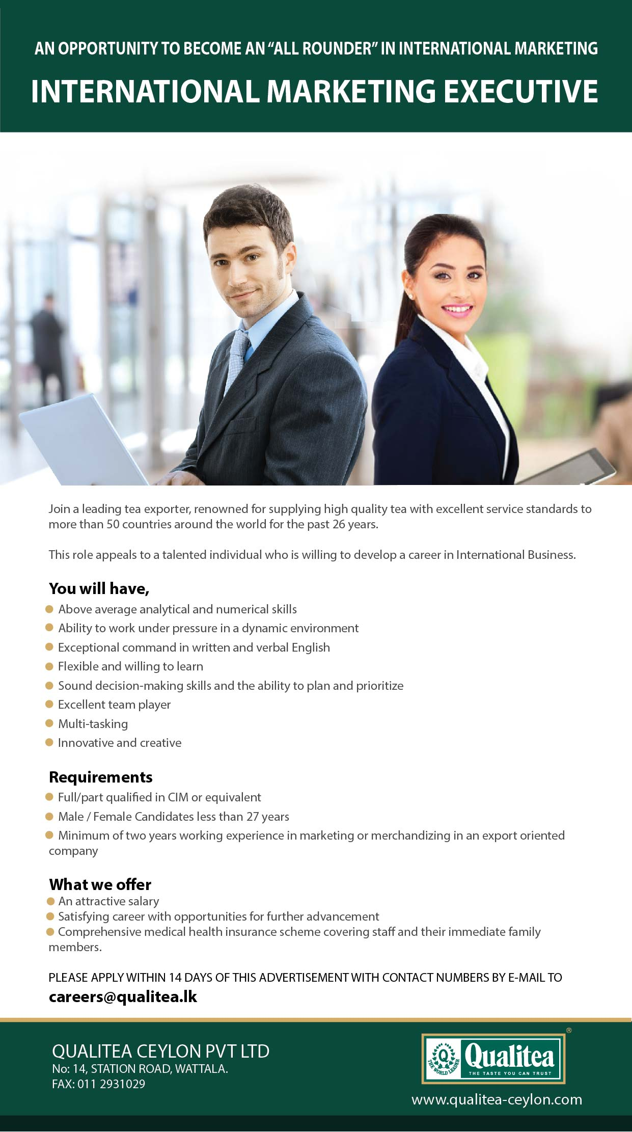 careers qualitea ceylon pvt marketing