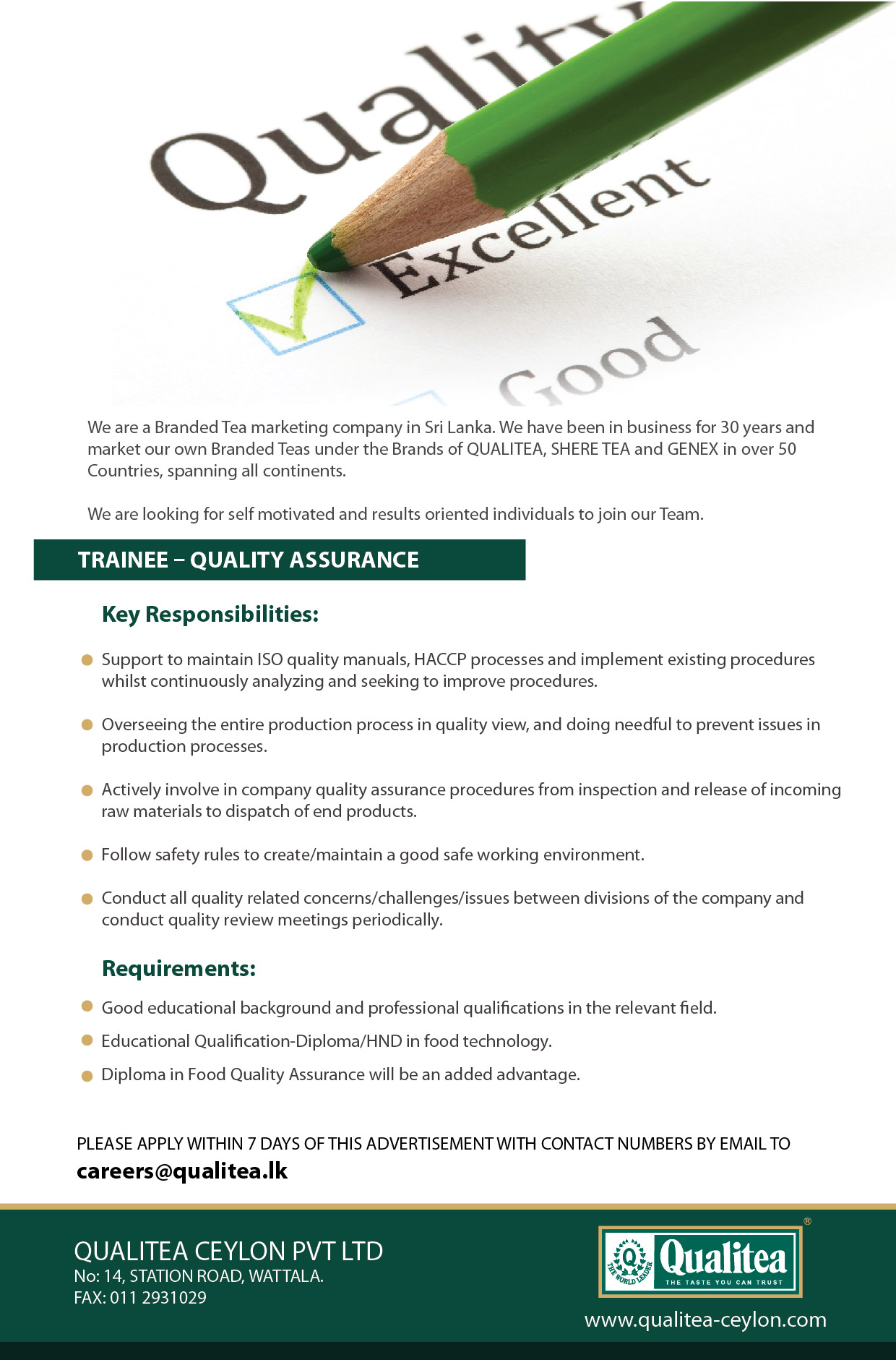 Top Jobs - 20200902 - Trainee - Quality Assurance