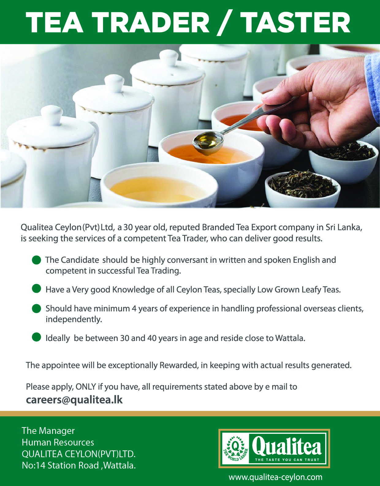 Top Jobs - Tea Trader_Taster - 31.08.2020
