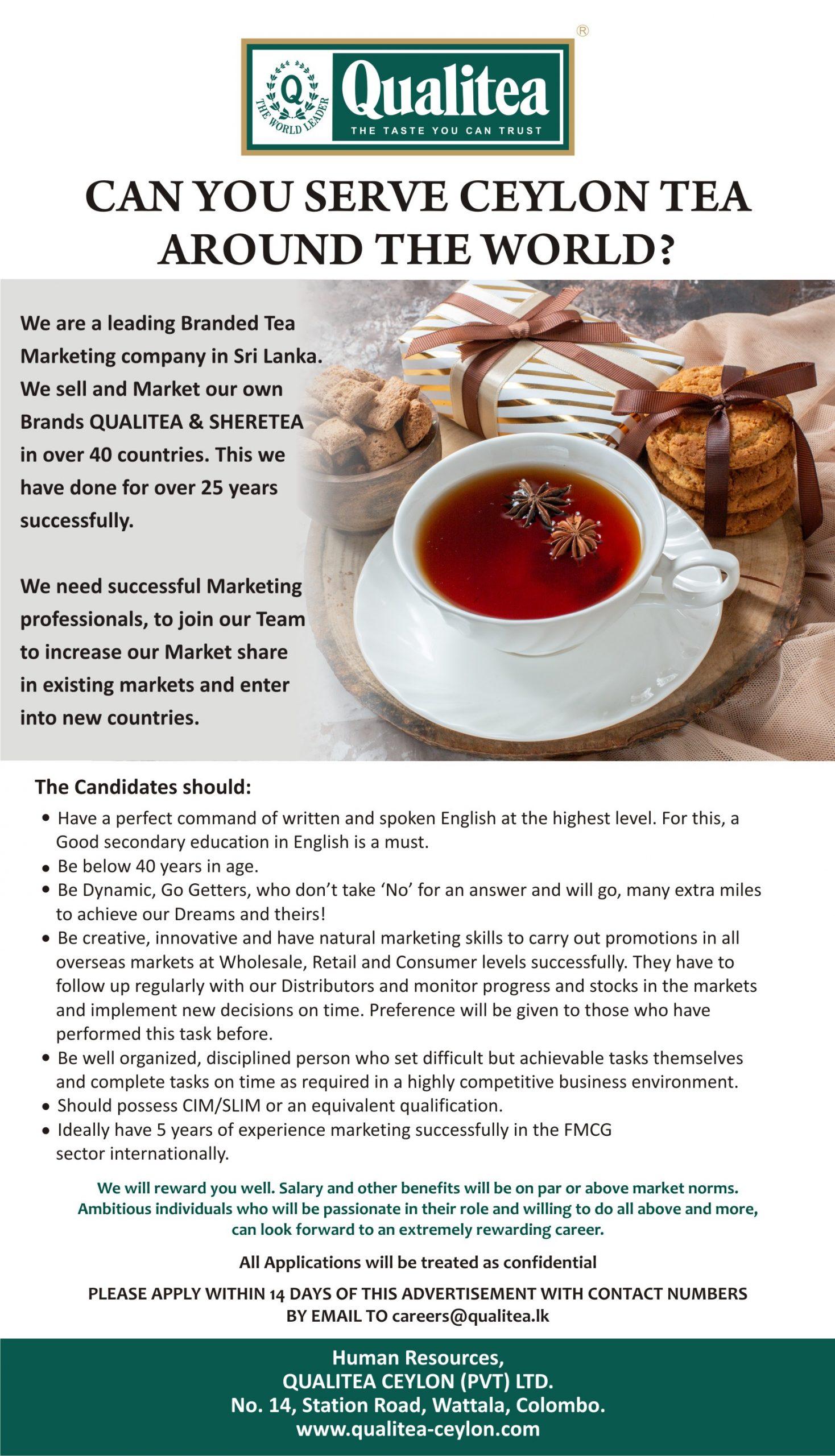 Marketing vacancy from Qualitea Ceylon